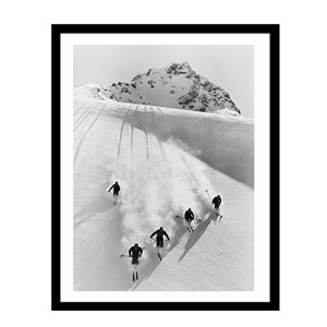 Glass picture w/frame five men skiing downhill 80cm x 120cm