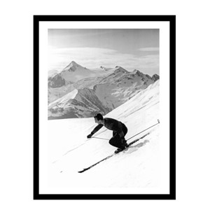 Glass picture w/frame downhill with parallel turn 70cm x 90c