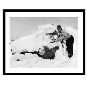 Glass picture w/frame cleaning car from snow 80cm x 120cm